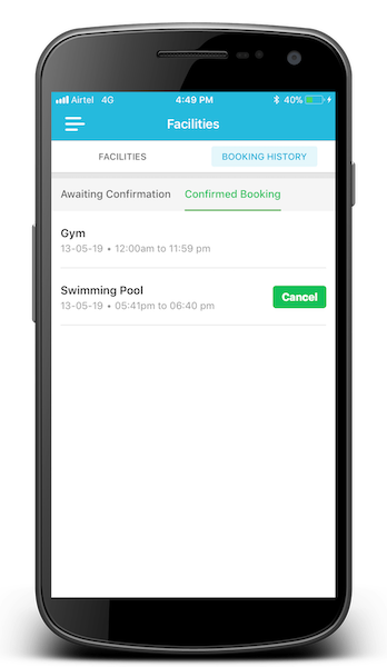 ADDA App Facility Booking Update