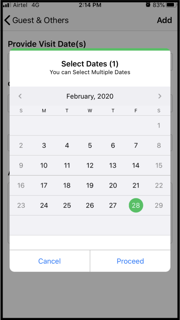 Provide Date of Guest's arrival on ADDA app