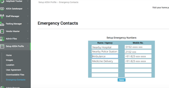 Emergency Contacts On ADDA App