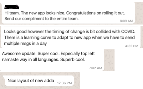 ADDA New UI User Testimonial
