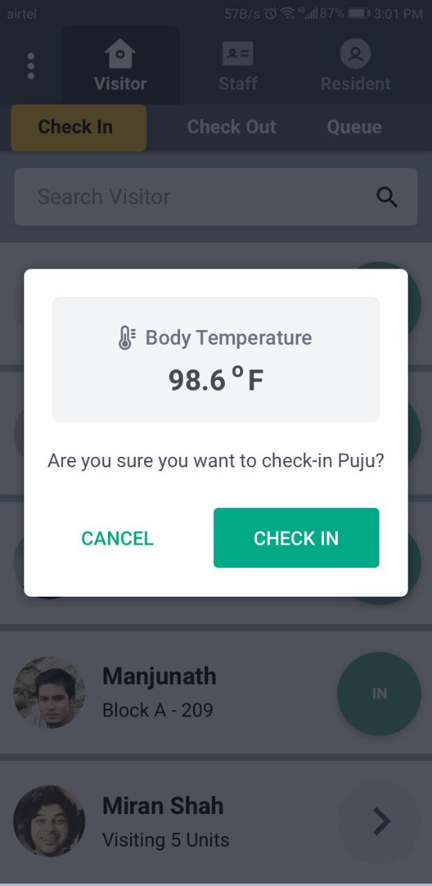Temperature Record Feature Release - GateKeeper App
