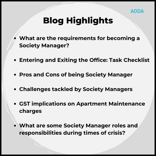 Society Manager roles and responsibilities
